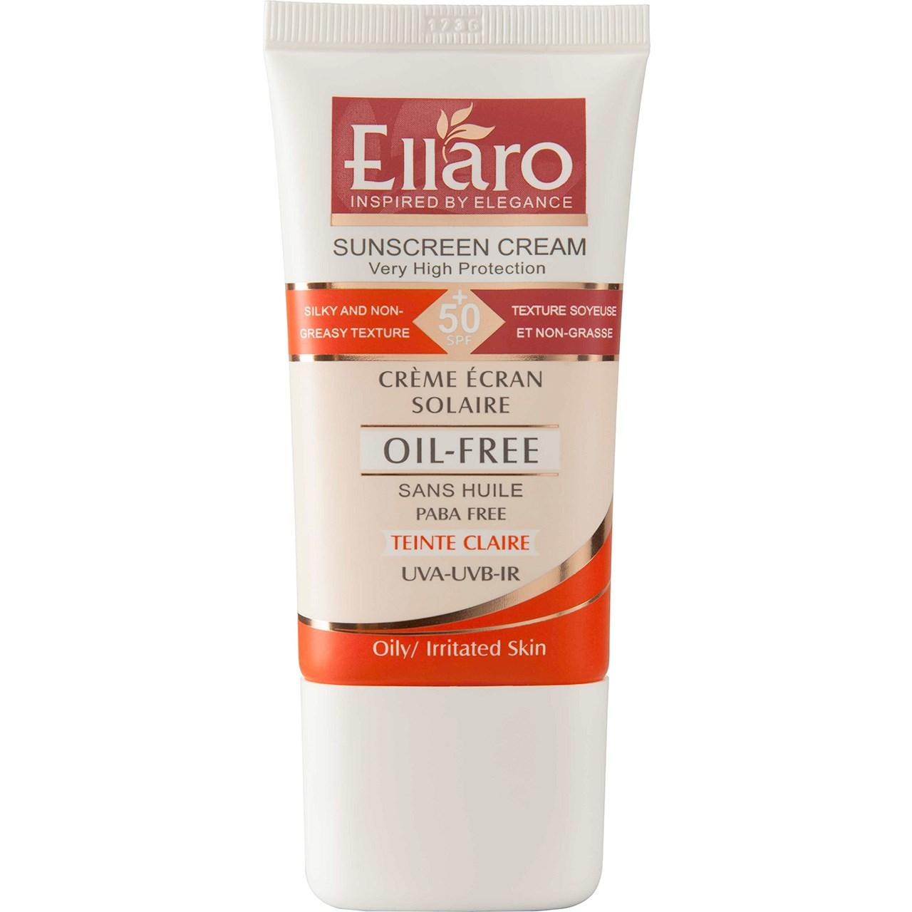 کرم ضدآفتاب بی رنگ الارو SPF50 مناسب برای انواع پوست حجم ۵۰ میلی لیتر