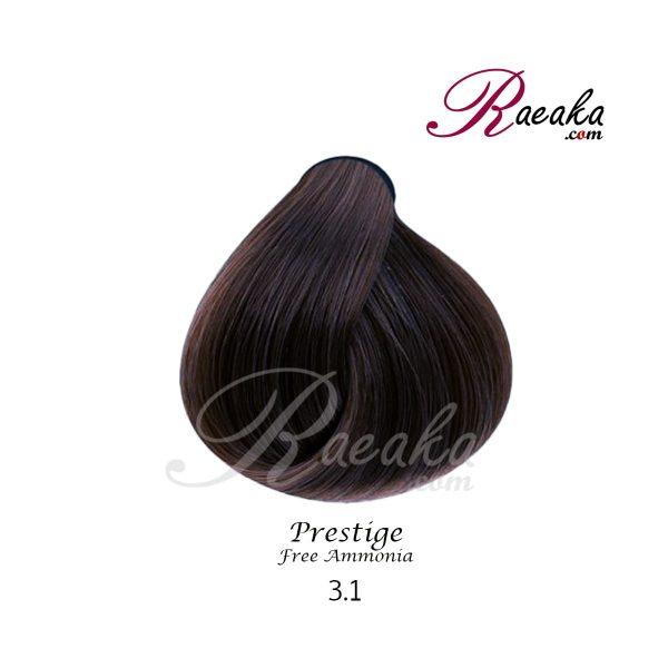 رنگ موی بدون آمونیاک و کراتینه نیو پرستیژ سری خاکستری- قهوه ای خاکستری تیره- شماره 3.1 حجم ۱۰۰ میل