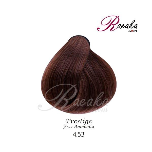 رنگ موی بدون آمونیاک و کراتینه نیو پرستیژ سری شکلاتی- قهوه ای کاکائویی تیره- شماره 4.53 حجم ۱۰۰ میل