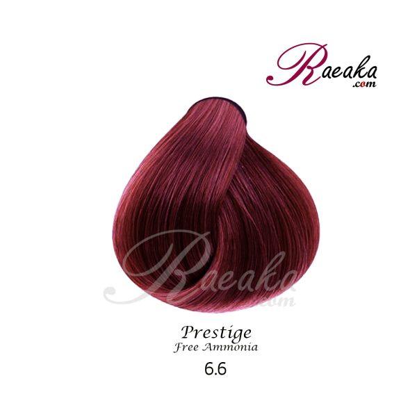 رنگ موی بدون آمونیاک و کراتینه نیو پرستیژ سری ماهاگونی- آلبالویی- شماره 6.6 حجم ۱۰۰ میل
