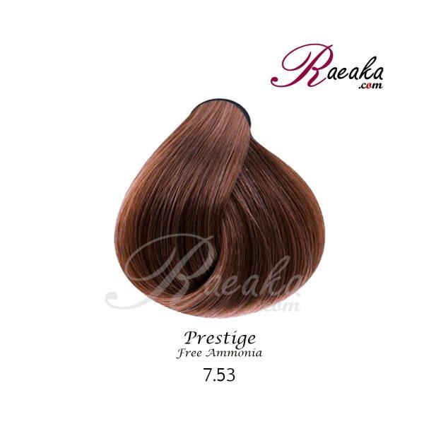 رنگ موی بدون آمونیاک و کراتینه نیو پرستیژ سری شکلاتی- بلوند کاکائویی متوسط- شماره 7.53 حجم ۱۰۰ میل