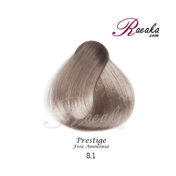 رنگ موی بدون آمونیاک و کراتینه نیو پرستیژ سری خاکستری- بلوند خاکستری روشن- شماره 8.1 حجم ۱۰۰ میل