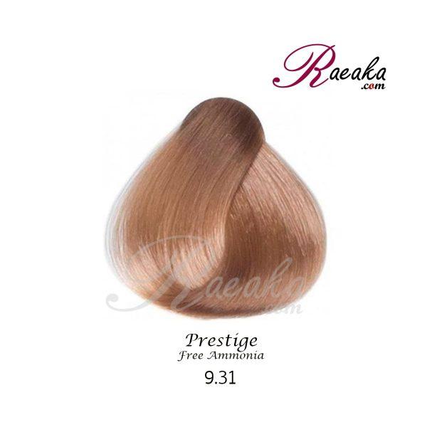 رنگ موی بدون آمونیاک و کراتینه نیو پرستیژ سری بژ- بلوند بژ خیلی روشن- شماره 9.31 حجم ۱۰۰ میل