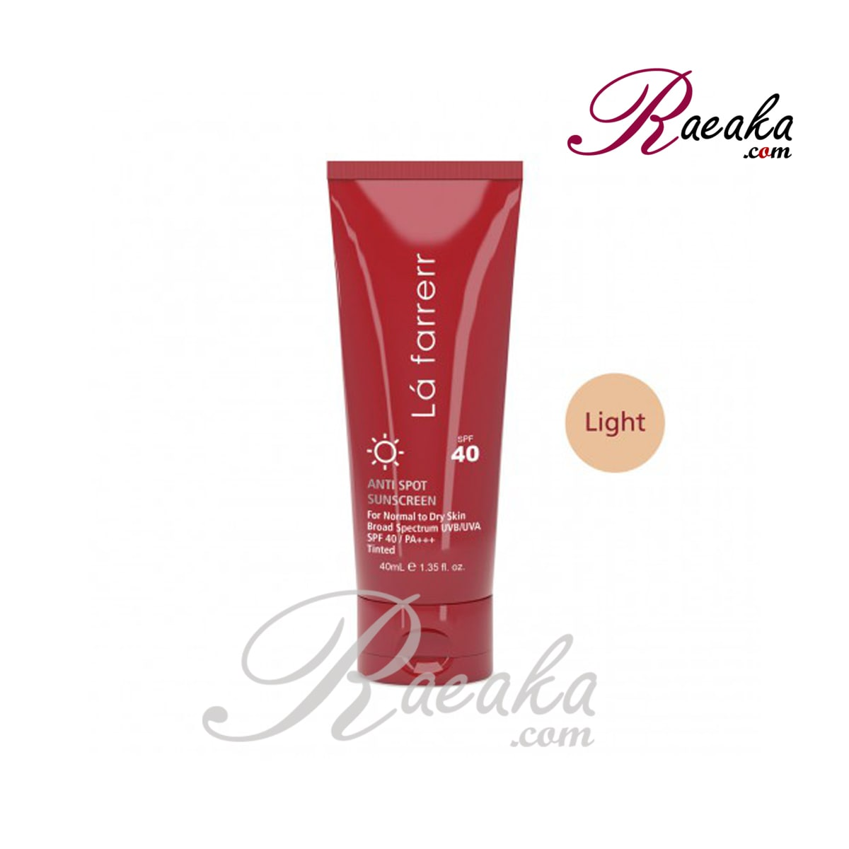کرم ضد آفتاب و ضد لک رنگی لافارر SPF40 مخصوص پوست های خشک و معمولی رنگ روشن حجم 40 میلی لیتر